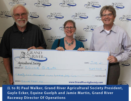 Cheque presentation (L to R) Paul Walker, Grand River Agricultural Society President, Gayle Ecker, Equine Guelph and Jamie Martin, Grand River Raceway Director Of Operations