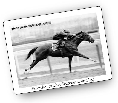 This snapshot catches Secretariat on 1 leg!